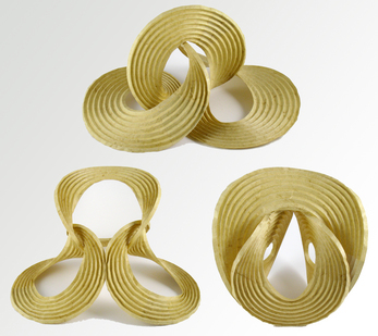 Three curved-crease sculptures