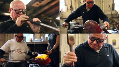 four frames of Lino Tagliapetra blowing glass