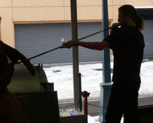[Erik Demaine blowing glass in Otaru, Japan, 2007]